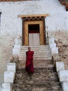 Photo of a Buddhist Monk in Bhutan. Christian persecution is done by the Buddhist population.