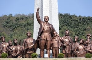 a propaganda statue in North Korea