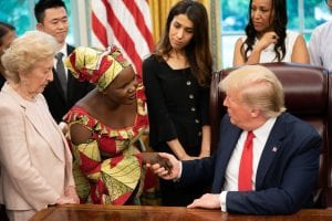 U.S. president trump meets Esther, a persecuted Christian from Nigeria