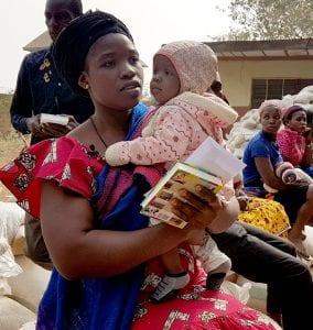Veronica, who was helped with relief aid in Nigeria