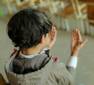 An Egyptian boy prays